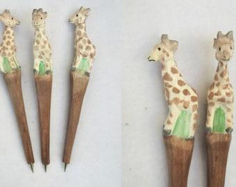 Wooden folk art animal carving creative ballpoint pen