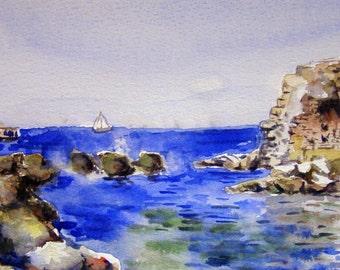 Ancient harbor in Akko. Print of seascape watercolor painting. Home decor, office decor, or greeting card.