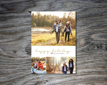 Christmas Photo Card, Photo Collage, Holiday Card, Happy Holidays, Gold, Front and Back, Front Only, Printable, Simple, Classic, Custom