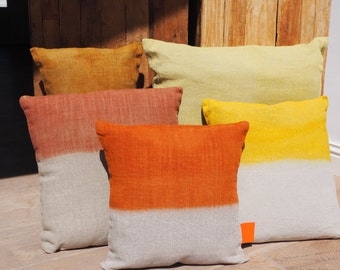 "Cushion in natural linen ""Tie & Dye Tangerine"", Collection ""Six Horses Charlotte"", 100% handmade"