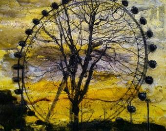 THE WHEEL - London Eye/Millenium Wheel Giclee Fine Art Print