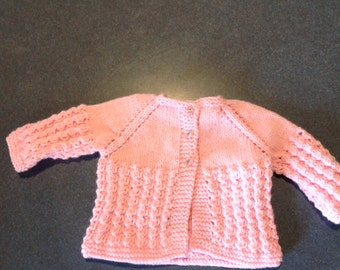 Perfect baby girl hand knitted sweater and bonnet