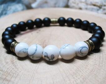 Mens Bracelet-Howlite Bracelet-Matte Black Onyx Bracelet-Energy Bracelet-Protection Bracelet-Power Spiritual Bracelet