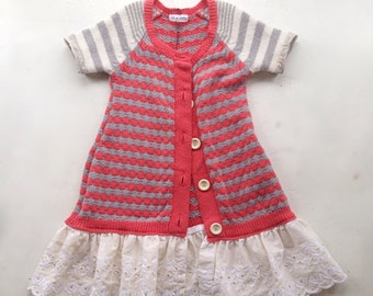 Girls dress upcycled sweater cardigan with vintage lace 4-6 yrs