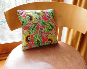 "Bright floral cushion. Amy Butler fabric.  Vivid floral cushion. 12"" x 12"" vivid floral cushion."