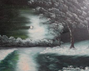 Vintage oil painting night landscape