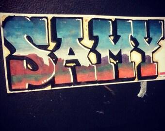 Custom graffiti name sticker