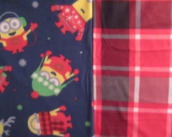 Fleece Tie Blanket-Winter Minions and Red/Black/Gray Plaid, medium