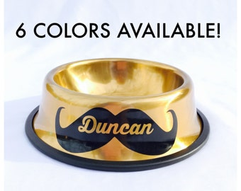 Personalized Dog Bowl with Name in Mustache-Custom Dog Dish-6 Colors-10 Fonts-Personalize Dog Bowl-Customized-Food-Water-Personalized Pet
