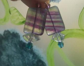 Flourite and Herkimer diamond quartz earrings