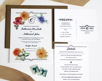 Printable Wedding Invitation Suite, Floral Watercolor Invites, DIY Watercolor Invitation Set