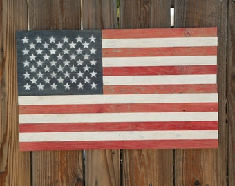 Rustic Wooden American Flag - Wall Decor - Red, White and Blue - Free Shipping