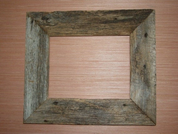 Rustic weathered reclaimed oak barn wood picture frame