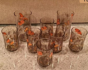 Set of Eight ~ 8 Vintage LIBBEY Glasses/Tumblers, Butterfly & Wheat Pattern