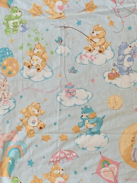 Vintage CARE BEARS Twin Flat Sheet Character Bedding Light