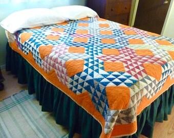 Orange Ocean Waves Antique Quilt