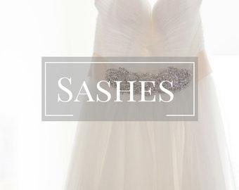 Custom Wedding Sash-Bridal Gown Sash Wedding Dress Sash Bride's Dress Sash  Handbeaded Flower Bridal Dress Sash Wedding Gown Belt