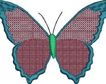 Textured Wing Butterfly Embroidery Design