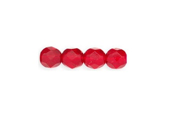 Czech Glass Beads - Round Faceted Beads - Fire Polished Beads - Siam Ruby Beads - 6mm - 25 Beads