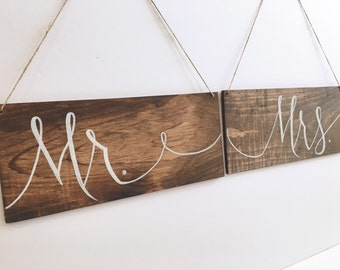 Mr and Mrs Chair Signs - Rustic - Wooden Wedding Signs
