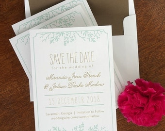 Winter Flora Save The Date Announcements - Digital Save The Dates - Custom Save The Date Cards - Wedding Announcements - AA4566