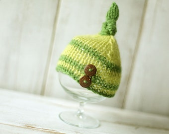 Newborn Knot Hat, Knitted Mohair Baby Boy Hat,Stripes, Knit baby hat, Photo prop, Shower gift, Hat with buttonsPhotography,Beanie