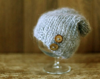 Newborn Hat, Gray Knitted Mohair Baby Boy Hat, Knit baby hat, Photo prop, Shower gift, Hat with buttonsPhotography,Beanie