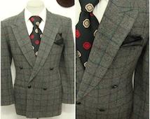Vintage GIORGIO  Double Breasted Suit Jacket 1970s Mens  Plaid Overcheck Wool Tweed Blazer / Sport Coat / Size 38 / Medium / M