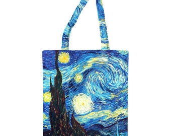 "Unique bag with high quality full print of painting ""Van Gogh The Starry Night"""