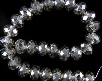 "7x10mm faceted crystal rondelle beads 8"" strand B17189 17189"