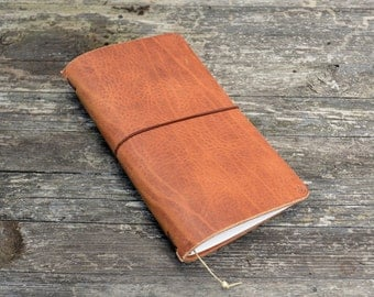 RG Traveler's notebook cognac with leaf - midori like- fauxdori