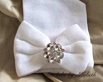 Bling Hospital Newborn Hat, white bow, Newborn girl beanie with diamond jewel, classy, white beanie and bow, Hospital Hat