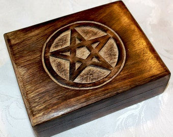 Pentagram Engraved Tarot Box