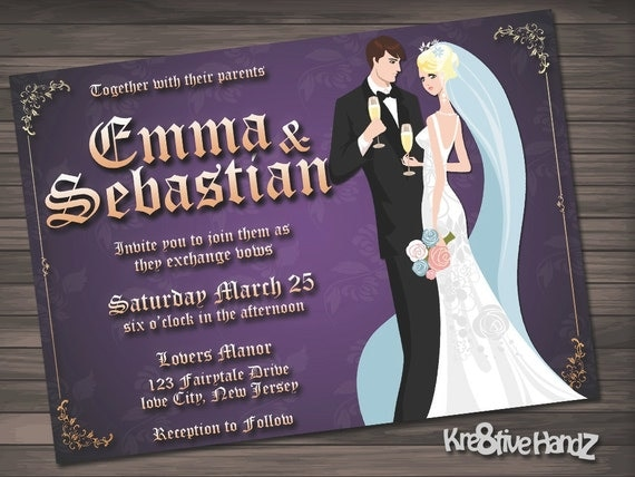 Fairytale wedding invitation personalized printable invite - Includes a Free RSVP card