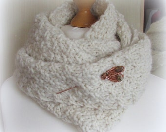 Hand Knitted Scarf & pin Set A Heart Of Cream