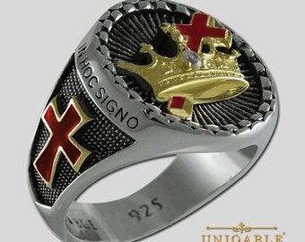 UNIQABLE Design Sterling Silver 925 Masonic Knight Templar Ring 18K Gold Plated