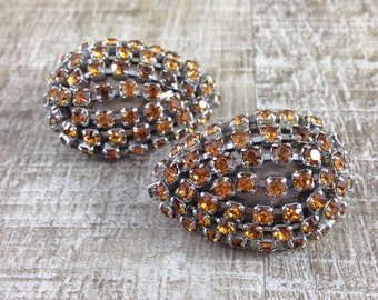 Amazing Vintage Clip Earring Orange Crystal Silver In Funky Sparkle Earrings