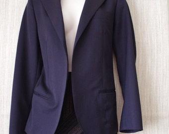 VINTAGE KRIZIA 100% Wool Navy Open Cardigan Blazer Women Jacket SIZE:40