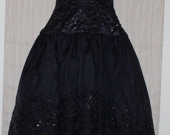 Vintage EVE of MILADY Black Asymmetrical Hem Formal Ball Stripless Dress SIZE:12