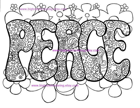 adult coloring page hippie retro peace colouring printable instant download - Hippie Coloring Pages