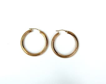 14K Yellow Gold Hoop Earrings With Beaded Edges and High Polish Sides