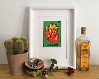 EL CORAZON // Heart Screenprint // Mexican La Loteria