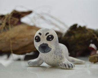 OOAK Handmade Polymer Clay Seal Sculpture