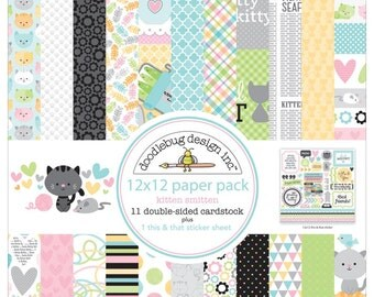"Doodlebug Design Kitten Smitten Collection 12"" x 12"" Scrapbook Paper Pack"