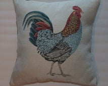 Country Chic 18x18 Rooster Decorative Throw Pillow