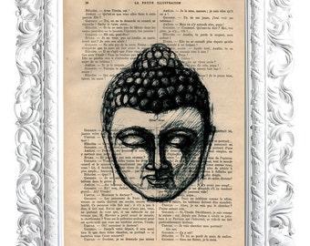 Buddha 3. Print on French publication of illustration. 28x19cm.