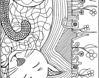 Cat Writing Assistant Coloring Page