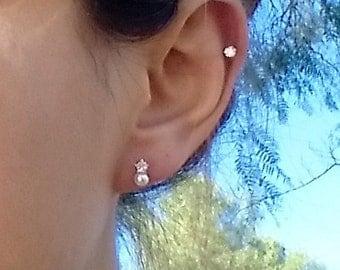 Pearl, Cubic Zirconia Stud Piercing Earring