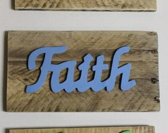 """Inspirational Words on Reclaimed Wood """"Faith"""""""