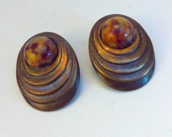 Vintage, 3x2.5cm, abstract, minimalist, earrings, abstract earrings, statement earrings, vintage earrings, cabochon earrings, large earrings